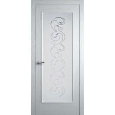 Межкомнатная дверь Мебель-Массив Виченца Эмаль белая без патины полотно с остеклением витраж заливной