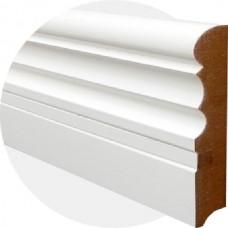 Плинтус из МДФ белый Фигурный со вставкой 140 x 20 мм