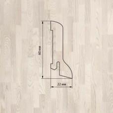 Плинтус Polarwood Ash White (Ясень Белый) шпон 22 x 60 мм