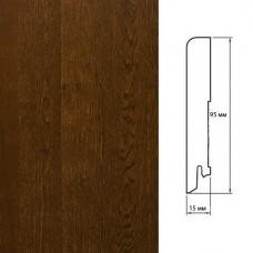Плинтус Polarwood Oak Lacquered Dark Brown (Дуб Темно-коричневый лак) шпон 15 x 95 мм