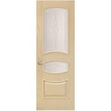 Межкомнатная дверь Sola Porte Алина Ясень латте текстурный полотно с остеклением Багетная серия