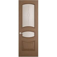 Межкомнатная дверь Sola Porte Алина Орех лак полотно с остеклением Багетная серия