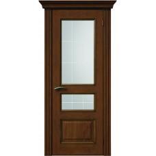 Межкомнатная дверь Sola Porte Кардинал 2 Орех лак полотно с остеклением Багетная серия