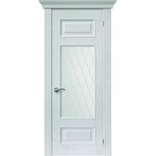 Межкомнатная дверь Sola Porte Кардинал 3 Ясень белый текстурный полотно с остеклением Багетная серия
