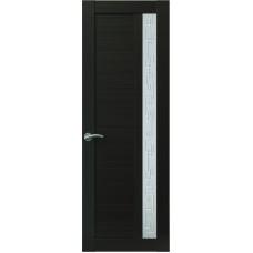 Межкомнатная дверь Sola Porte Корвет 1 Венге Экошпон пленка полипропилен полотно с остеклением серия Корвет