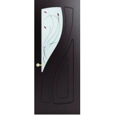 Межкомнатная дверь Sola Porte Лана Венге лак полотно с остеклением серия Фреза