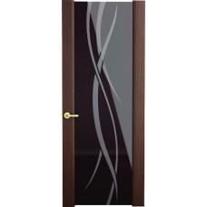 Межкомнатная дверь Sola Porte Ночь/Белая ночь Венге шпон Файн-лайн лак полотно с остеклением серия Сборные двери