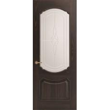 Межкомнатная дверь Sola Porte Версаль Дуб Мореный текстурный полотно с остеклением Багетная серия