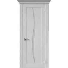 Межкомнатная дверь Sola Porte Волна Ясень белый текстурный полотно с остеклением серия Сборные двери
