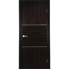 Межкомнатная дверь Свобода 209 Макассар 00.61 полотно глухое 2 молдинга хром коллекция Loko