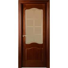Межкомнатная дверь Свобода 737 Шпон красного дерева темный 04.04 полотно c полотно с осеклением вид стекла ст.8 (2000х900) коллекция Valdo