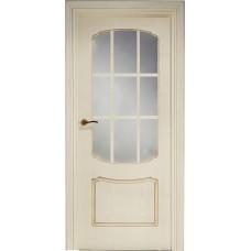 Межкомнатная дверь Свобода 750 Золотая патина 13.01 полотно с осеклением решетка вид стекла ст.1 ПОР 2 (2000х900) коллекция Valdo