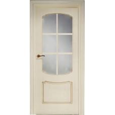 Межкомнатная дверь Свобода 750 Золотая патина 13.01 полотно с осеклением решетка вид стекла ст.1 коллекция Valdo