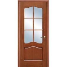 Межкомнатная дверь Свобода 782 Шпон красного дерева светлый 00.04 полотно с осеклением решетка вид стекла ст.1 коллекция Valdo