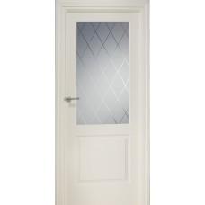 Межкомнатная дверь Свобода 840 Магнолия 9010 полотно глухое с остеклением вид стекла ст.8 коллекция Valdo